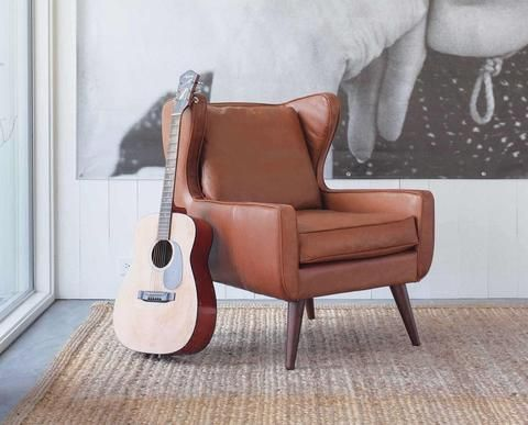 Mid-century Modern Style Wingback Leather Chair | Industrial ... Industrial Design Wohnzimmer