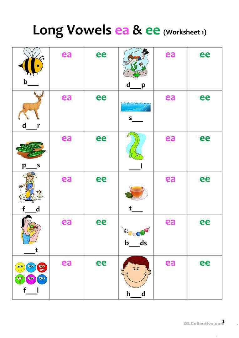 Ea Ee Worksheets Vowel Worksheets Long Vowel Worksheets Worksheets [ 1079 x 763 Pixel ]