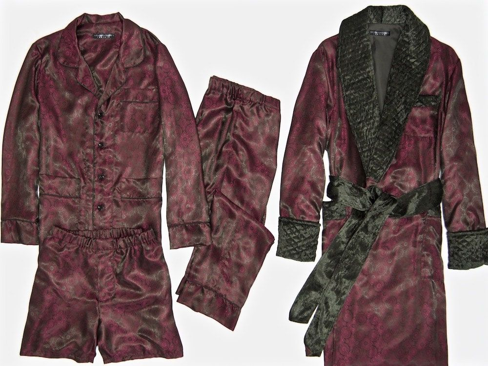Mens Burgundy Paisley Silk Dressing Gown Luxury Maroon Silk