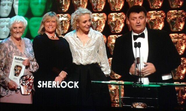 Sue and Beryl Vertue, Amanda Abington and Steven Moffat. Sherlock wins Radio Times Audience Award at the 2015 BAFTAs.