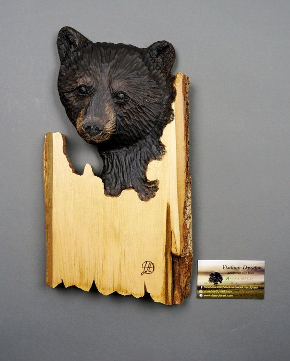 Best Gift Black Baby Bear Wood Carving with Bark Unique Wall Art ...