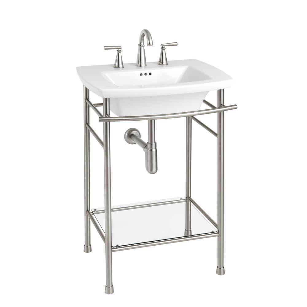 American Standard Edgemere Pedestal Leg In Brushed Nickel 8719000 295 Bathroom Sink Bathroom Sink Tops Single Handle Bathroom Faucet