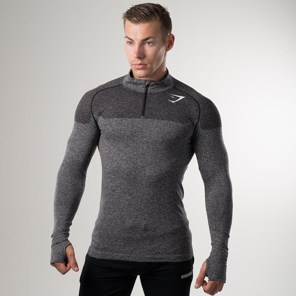 11ca8f38 Gymshark Phantom Seamless 1/4 Zip Pullover - Charcoal at Gymshark Mens Tee  Shirts,