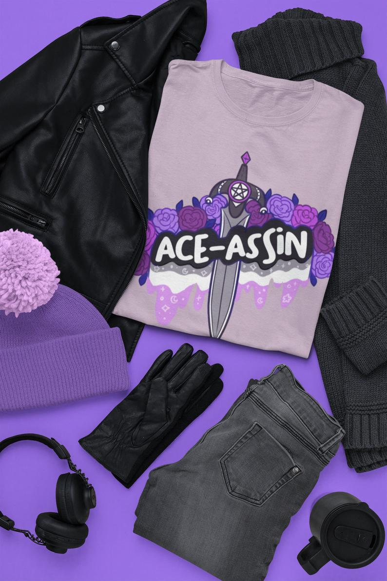 Ace-assin Short-Sleeve Unisex T-Shirt | Ace Asexual Sexuality LGBTQ DnD Assassin Roses | Pastel Goth Tee Apparel