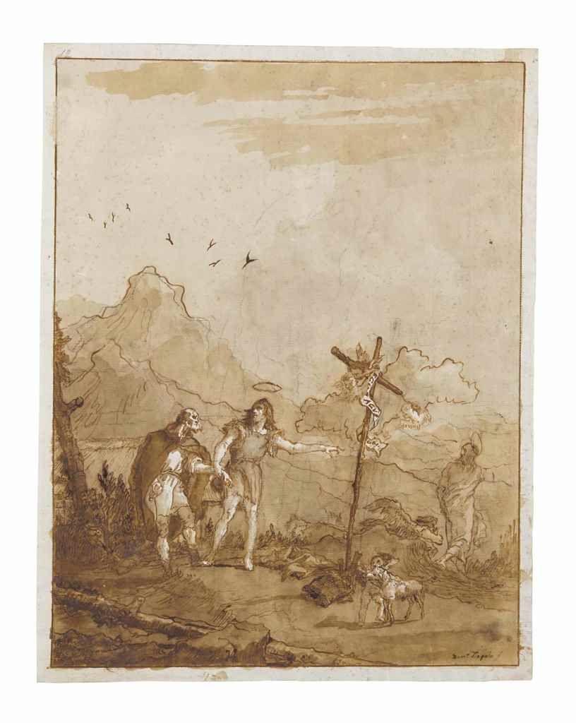 GIOVANNI DOMENICO TIEPOLO (VENISE 1727-1804)   Saint André incité par saint Jean-Baptiste à suivre le Christ