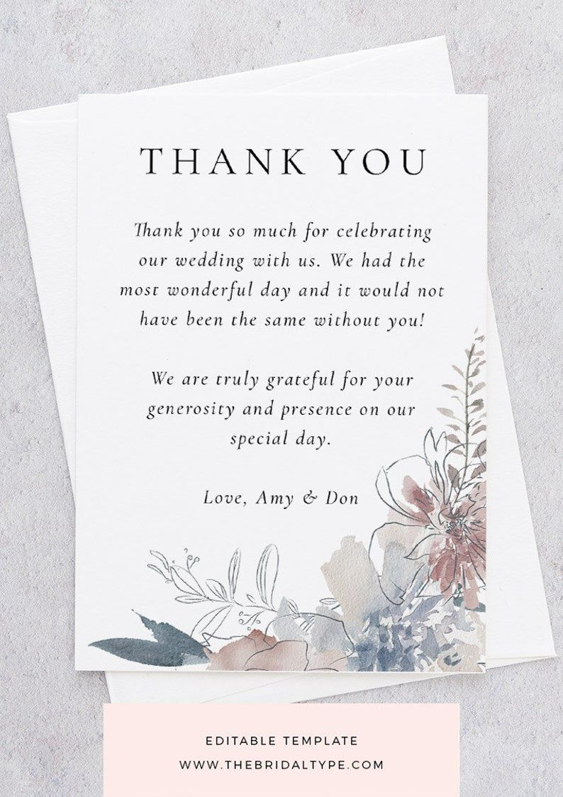 Diy Thank You Template Templett Thank You Watercolor Wedding Thank You Bridesmaid Thank You Card Floral Watercolor Dusty Pink And Blue Bridesmaid Thank You Cards Bridesmaid Thank You Wedding Thank You