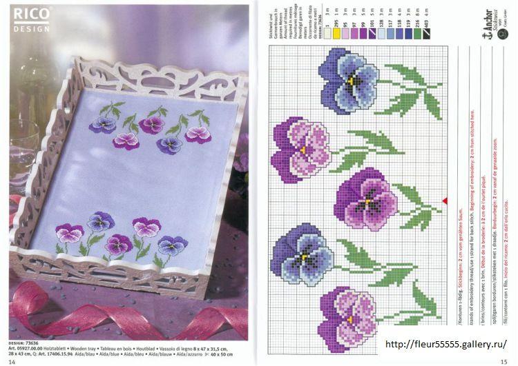 Χειροτεχνήματα: Σχέδια με πανσέδες για κέντημα / Pansy cross stitch patterns