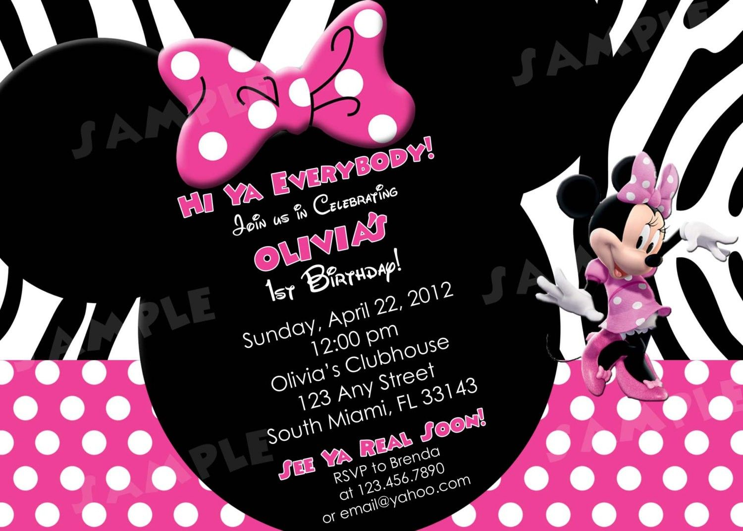 Minnie Mouse Birthday Invitations Diy Riana S 3rd Party