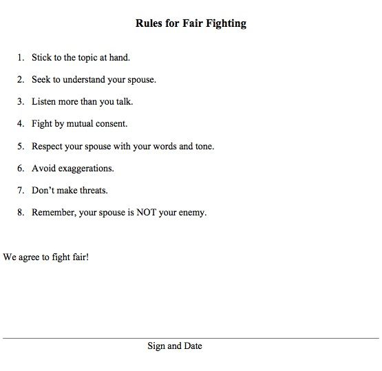 Printable Fair Fighting Contract for a #marriage | Faith and