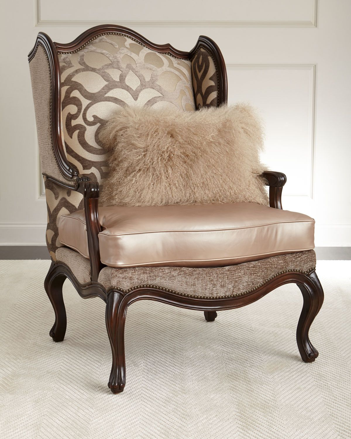 leather bergere chair and ottoman home massage handcrafted wing mahogany frame cotton viscose