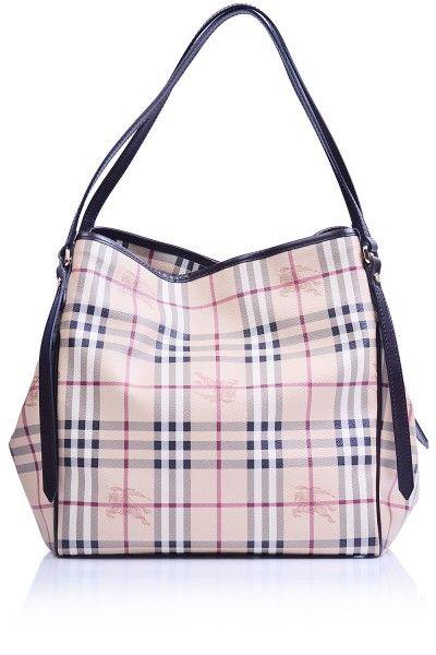 00740e81b4b4 -Burberry- Canterbury Haymarket Tote Medium Chocolate  Burberry  Handbags