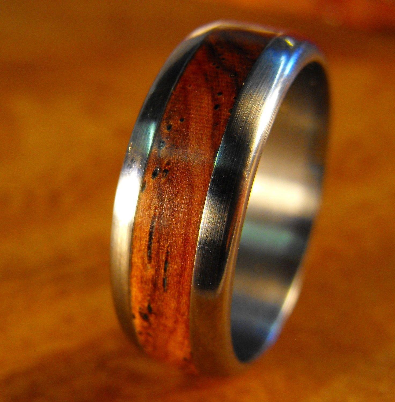 Unique Cocobolo Wood Ring for Him Custom Made Titanium