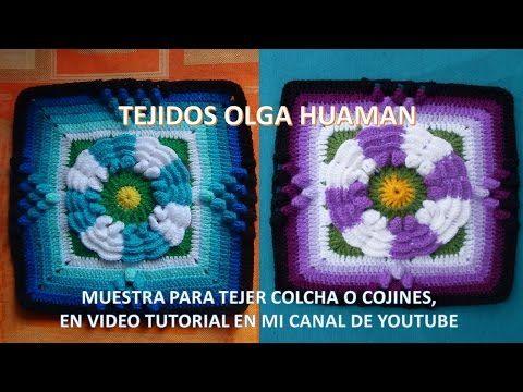 Flor de dos colores tejido a crochet para colcha paso a - Colchas de crochet paso a paso ...
