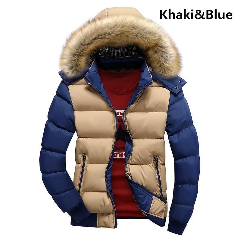 Men's Fashion Premium Casual Cotton Warm Hooded Coat Contrast Color Men Winter Jacket Vest Manteau Thickened Padded Coat