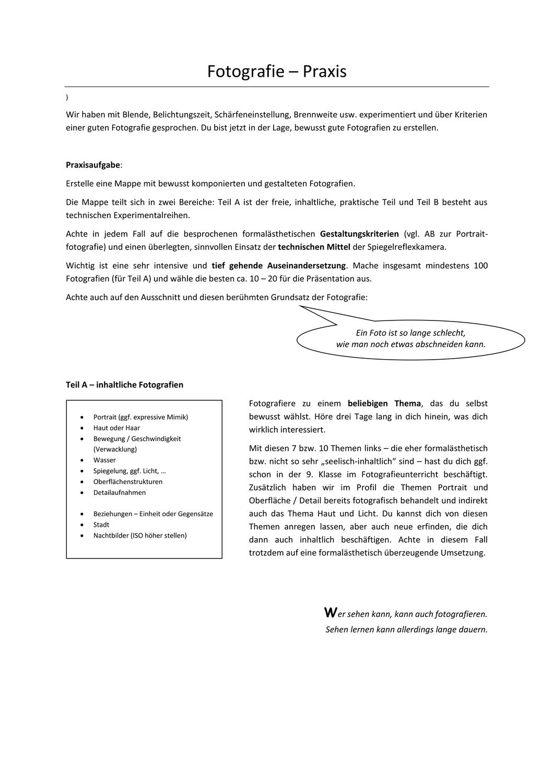 Fotografie Praxisaufgabe Profil Unterrichtsmaterial Im Fach Kunst In 2020 Fotografie Farbenlehre Farben Lehre