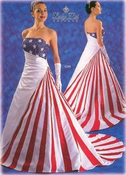 Red White and Blue Satin American Flag Casual Wedding Dress ...