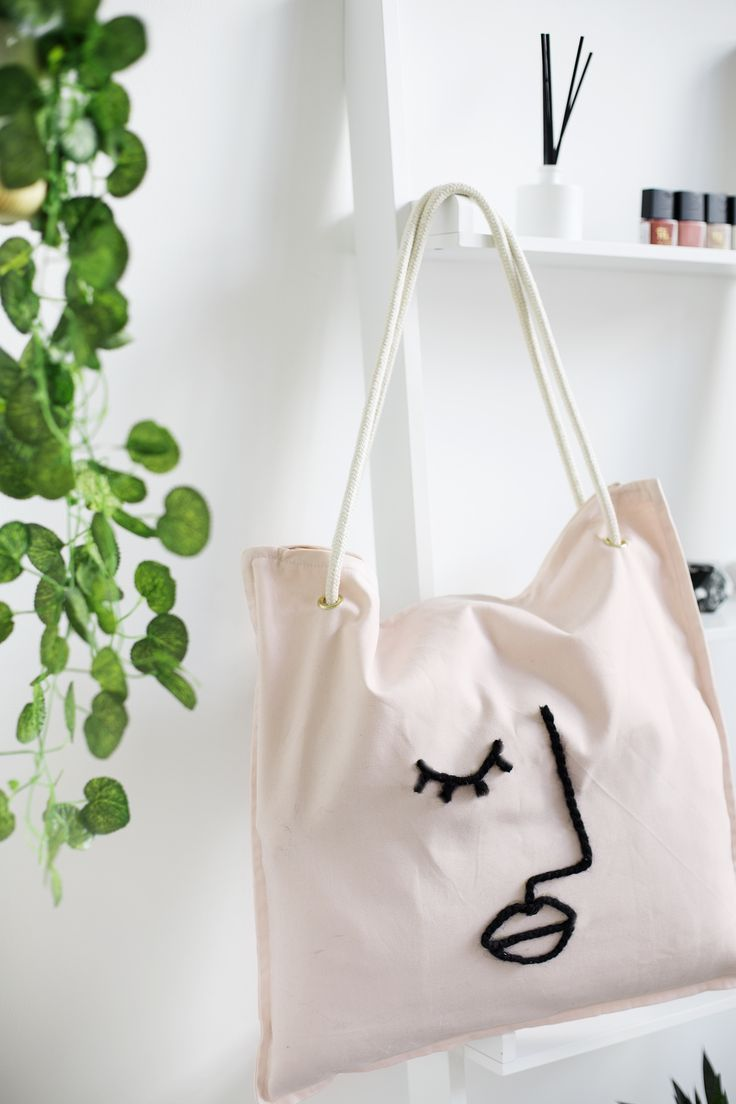 Abstract tote bag wool tote bag punch needle bag canvas tote bag tote bag wool handbag shoulder bag leather strap women tote bag