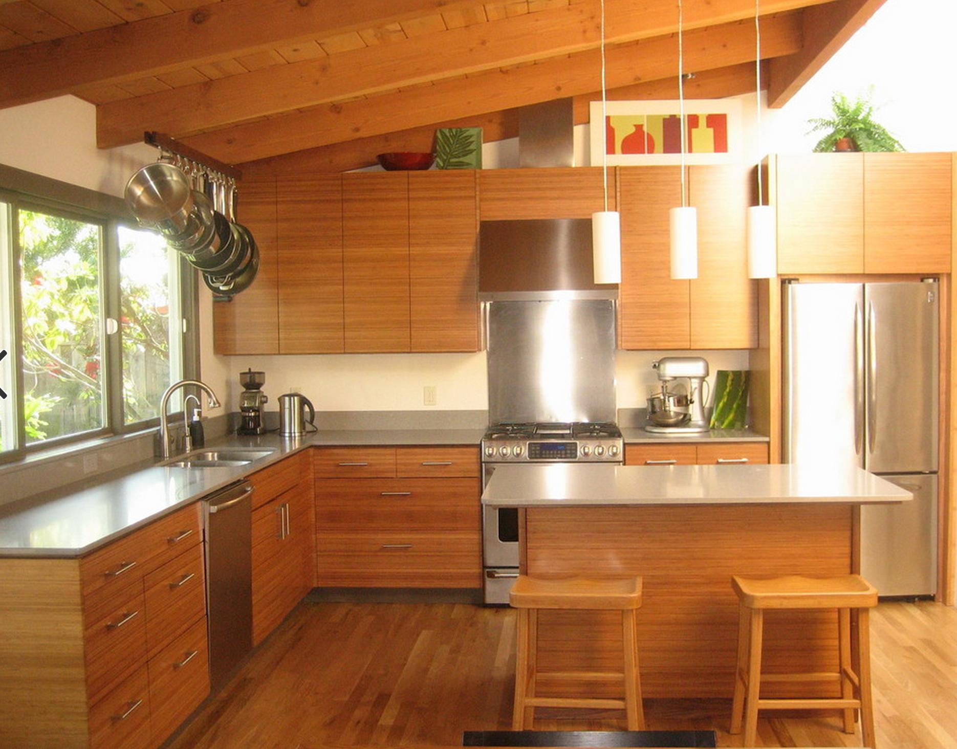 Semihandmade Bamboo Facing Contemporary Kitchen Bamboo Kitchen Cabinets Ikea Kitchen Design