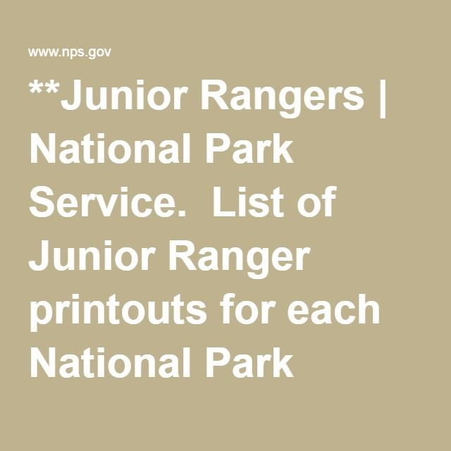 Junior Rangers National Park Service List of Junior Ranger - park ranger resume