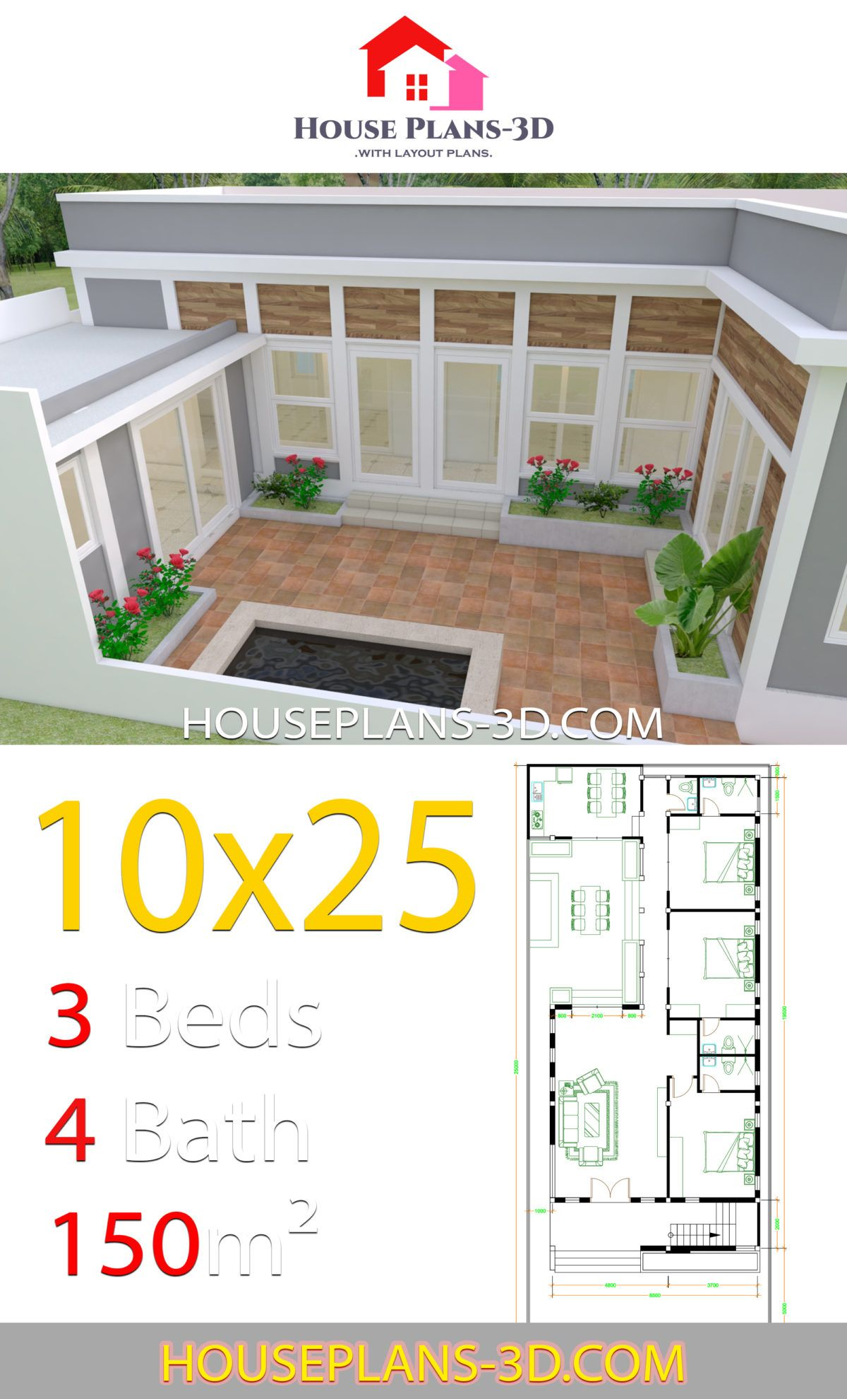 House Design Plans 10x25 With 3 Bedrooms House Plans 3d In 2020 Pallet House Plans Small House Plans House Plans