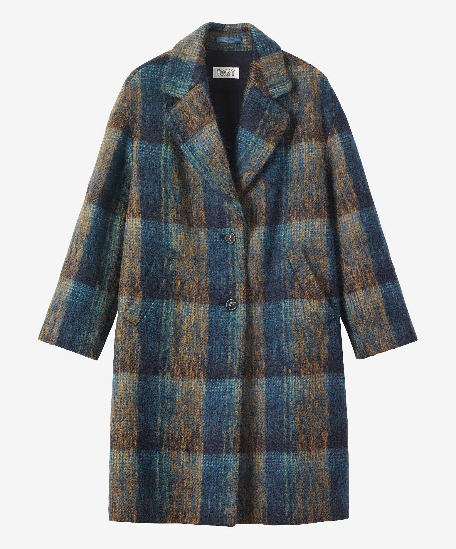 BRUSHED WOOL MOHAIR COAT | Hazy, plaid coat in a very soft, Scottish-