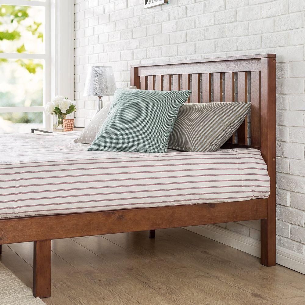 Queen Platform Bed Frame Wood Slats With Headboard Espresso Brown