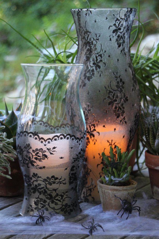 DIY spooky centerpiece- lace and modge podge