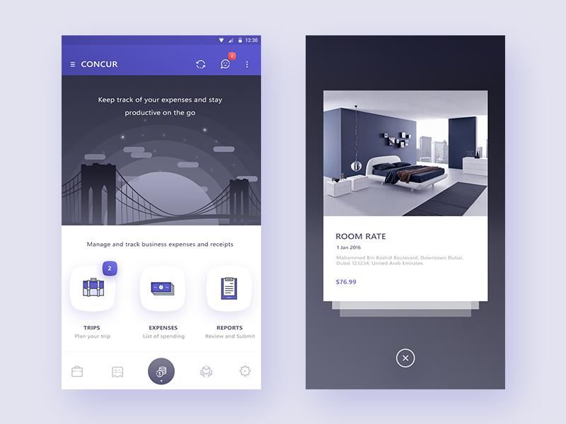 concur app redesign concept ((Homescreen + pop over