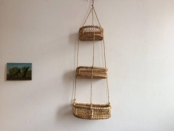 Big Size Hanging Kitchen Basket Macrame. Mexican Art Folk.