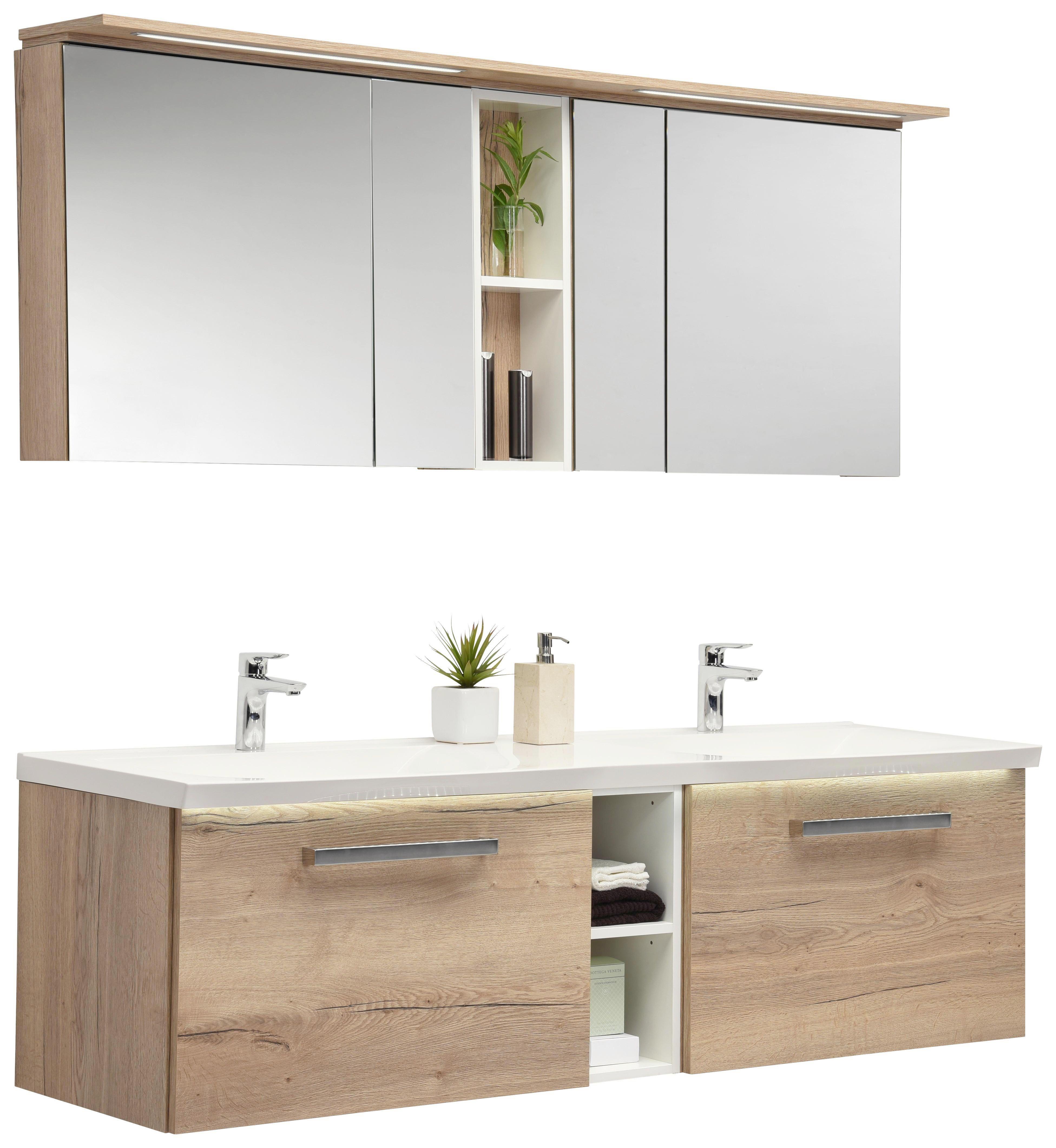 Dieses B Badmobel Set B Mit Doppelwaschtisch Breite Ca 170 Cm Und Spiegelschrank Ist Ein Absolutes Multitalen Badezimmer Doppelwaschtisch Spiegelschrank