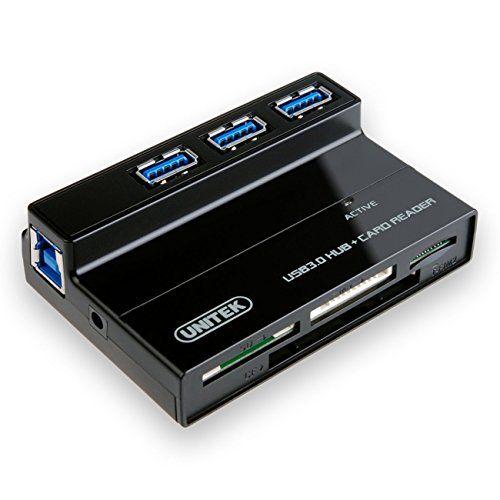 MULTI-IN-1 CARD READER 5V 2A ADAPTER mac pc UNITEK 3 PORTS USB 3.0 HUB CABLE