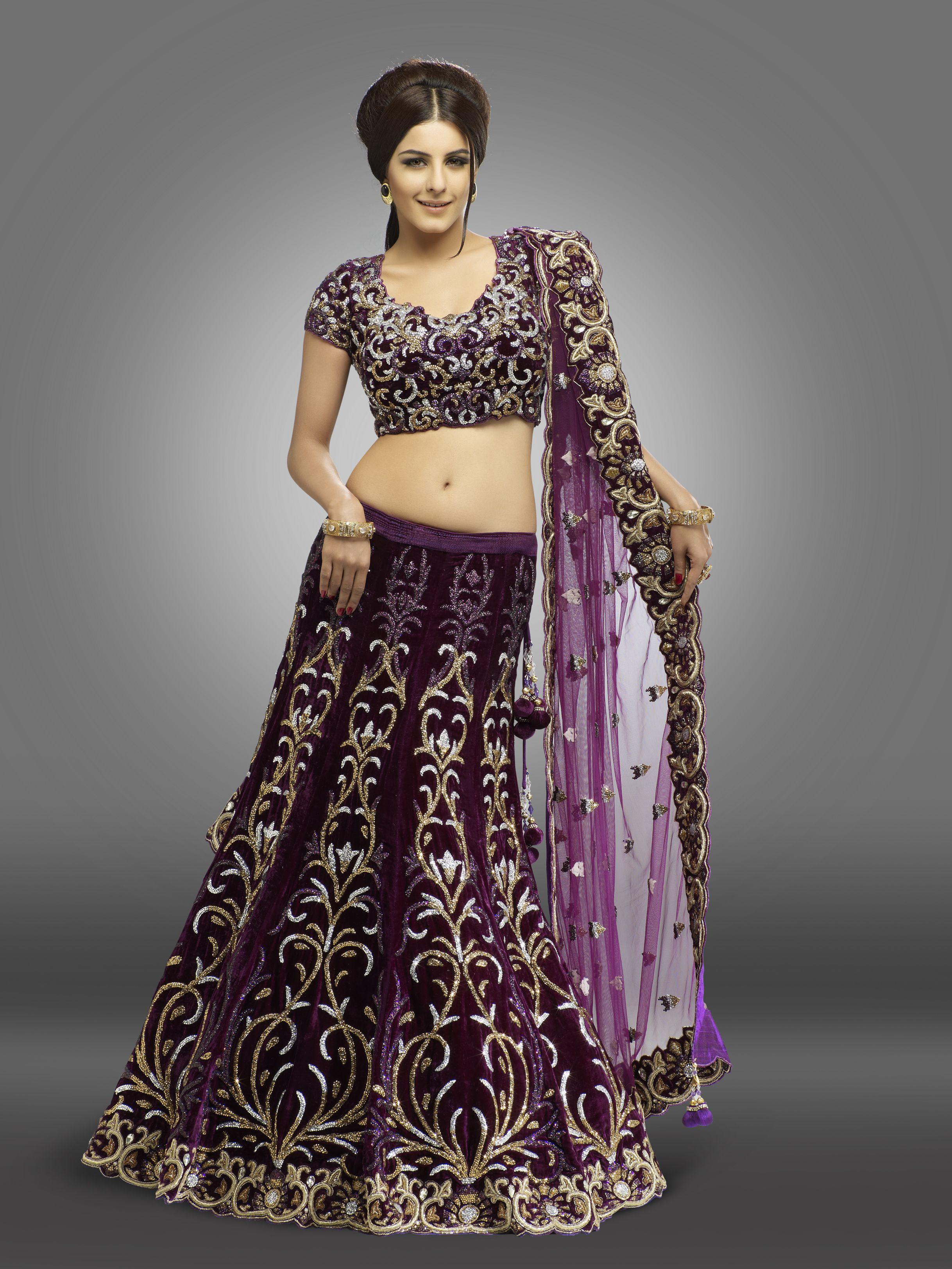 Dark purple color Ghagra Choli Velvet material Pure