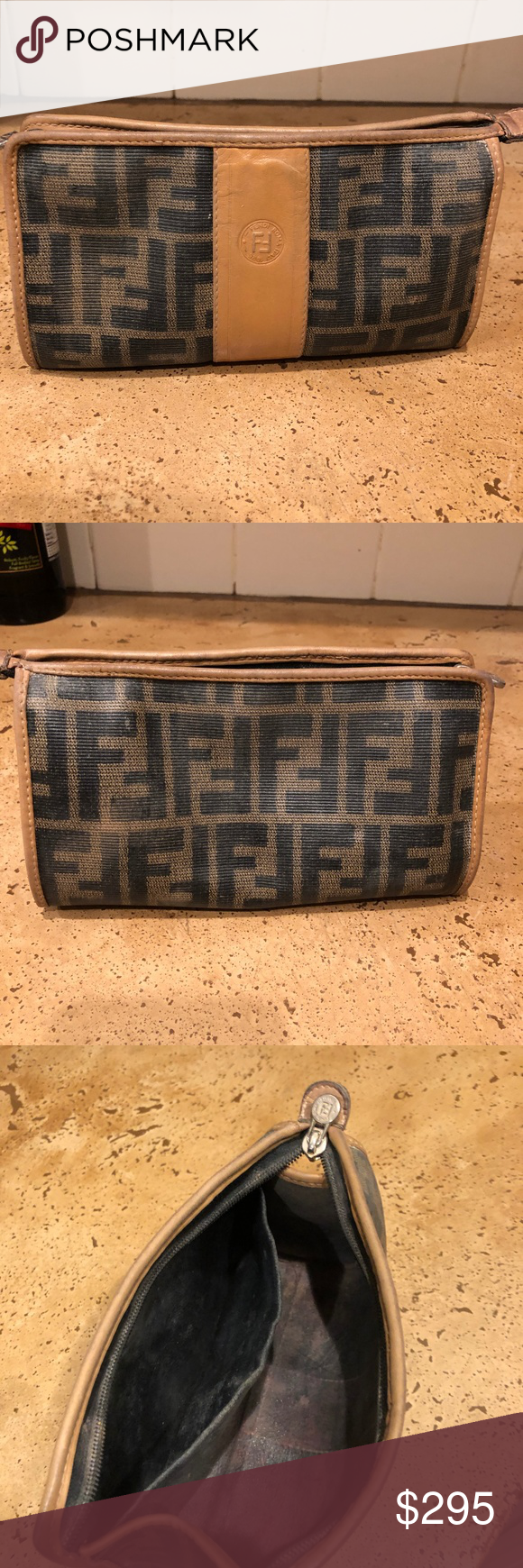 Genuine Fendi make up bag zip top This is Vintage Fendi