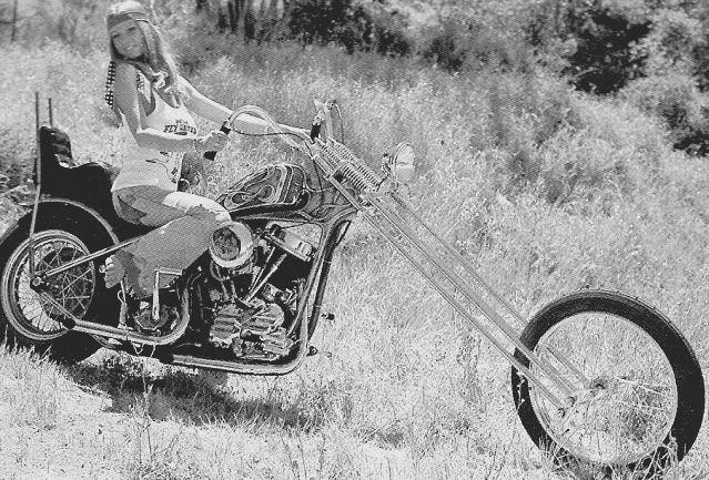 The Bodacious Roberta Pedon Straddling A Harley Panhead Chopper