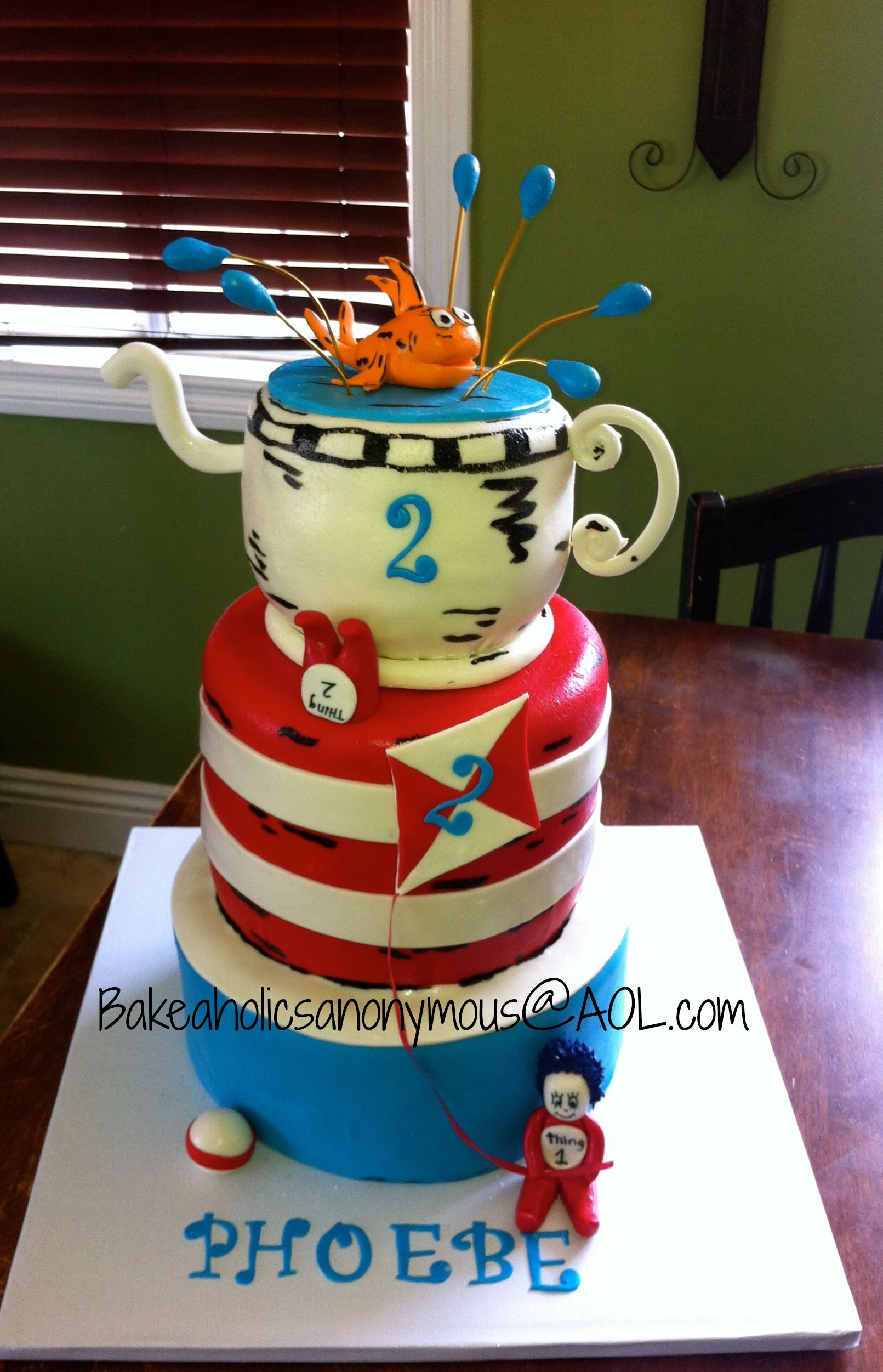 Cat in the Hat Birthday Cake Cat in the hat cake with all handmade