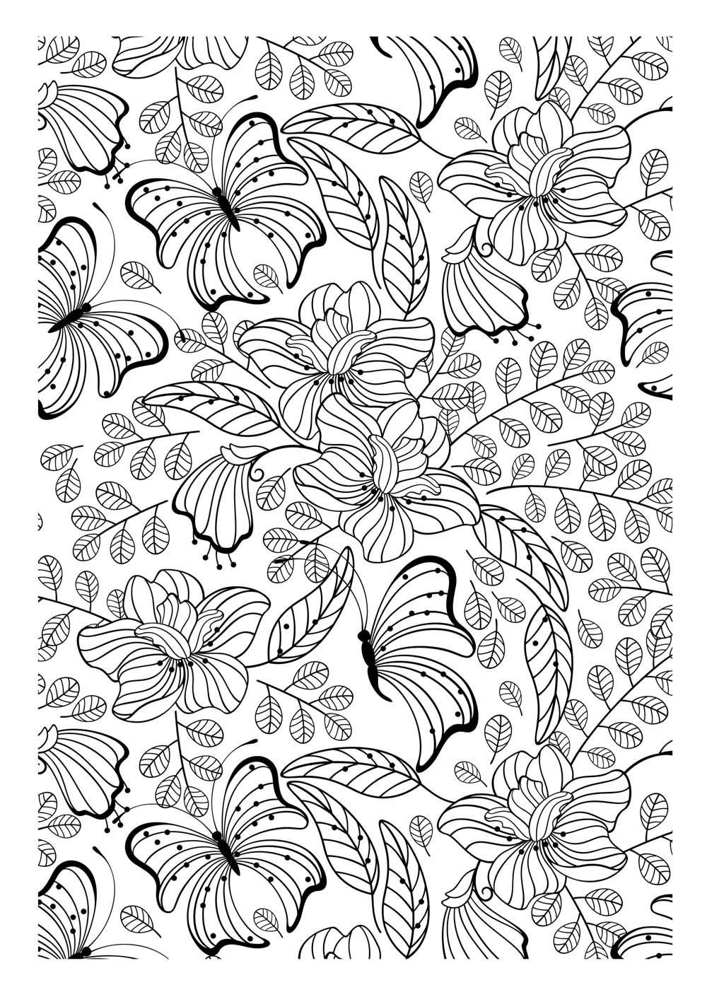 Free Coloring Page Adult Butterflys Another Image To Print And Color Filled With Pretty Leaves Flowers Butterflies Certainly An