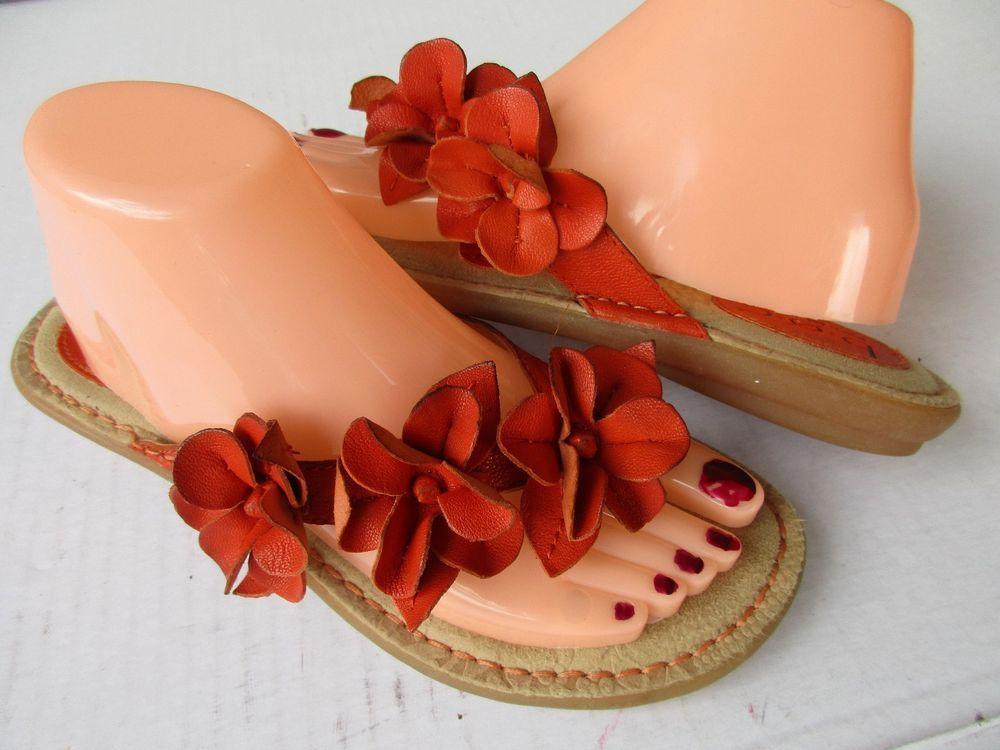 Born Concept women sandals size 8 Orange Thong Leather #Born #Slides #Casual
