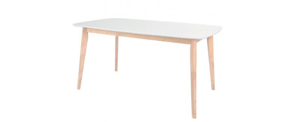 Table à manger design 150cm blanc et bois clair LEENA - Miliboo 160 ...