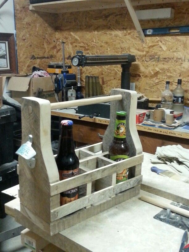 Vintage 6 pack carrier made with reclaimed pallet wood