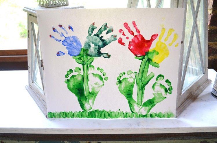 Blumen Mit Hand Und Fußabdrücken Malen Mit Kindern Basteln