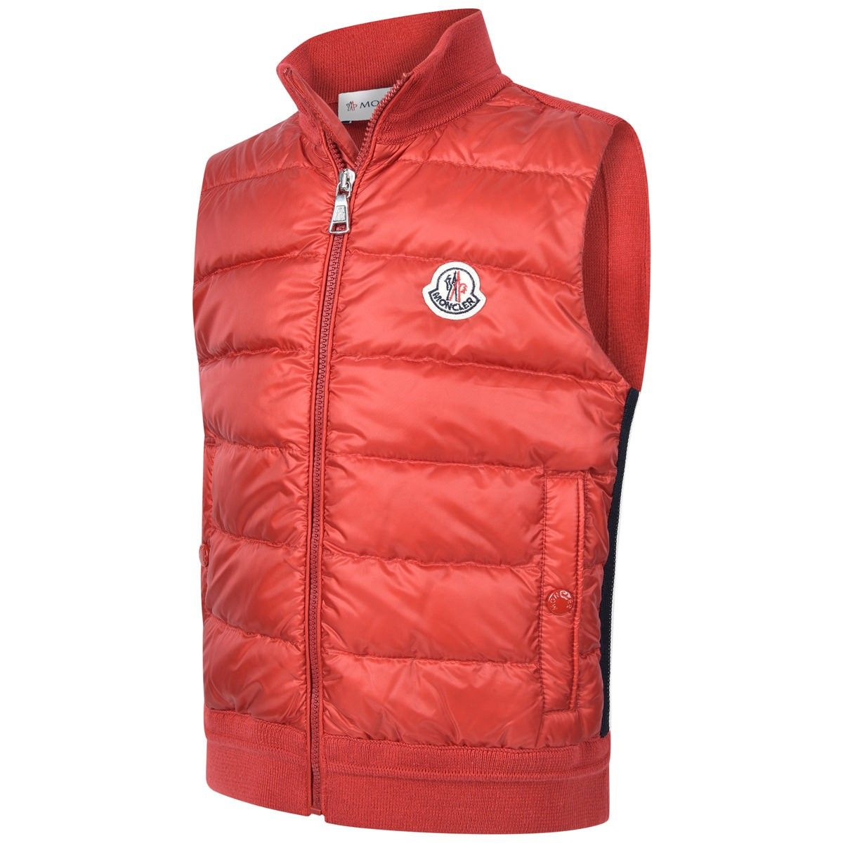Moncler Baby Boys Red Cotton Knit & Down Padded Body Warmer
