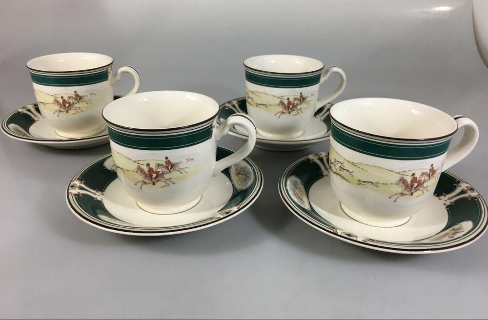 Noritake Keltcraft Pursuit Set Of 4 Cups Saucers Ireland 9170 Fox Hunting Noritake Best Coffee Mugs China Dessert Plates Noritake