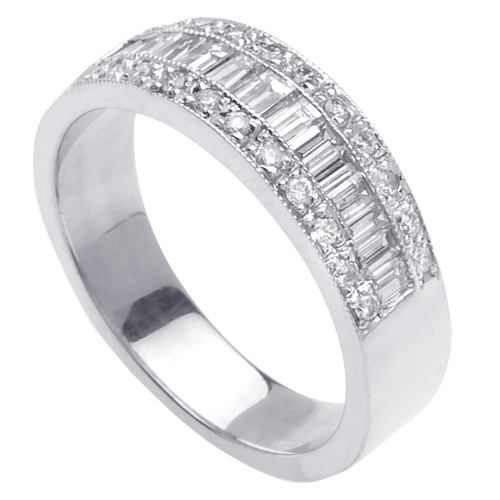 60ct channel set baguette ladies diamond wedding ring in