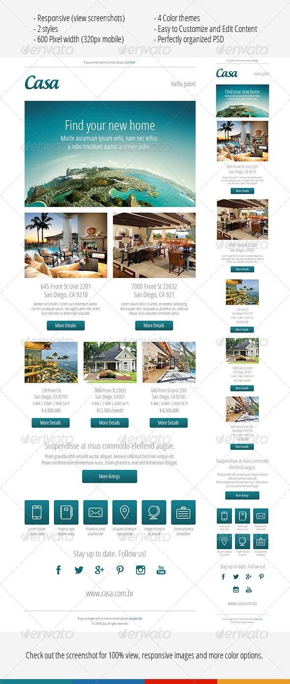 casa responsive email template e newsletters web elements real