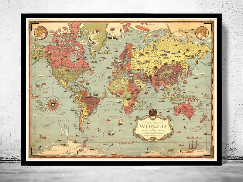 Old world map world vintage poster vintage maps and house old world map world 1931 world on mercators projectionis is a reproduction of an gumiabroncs Images