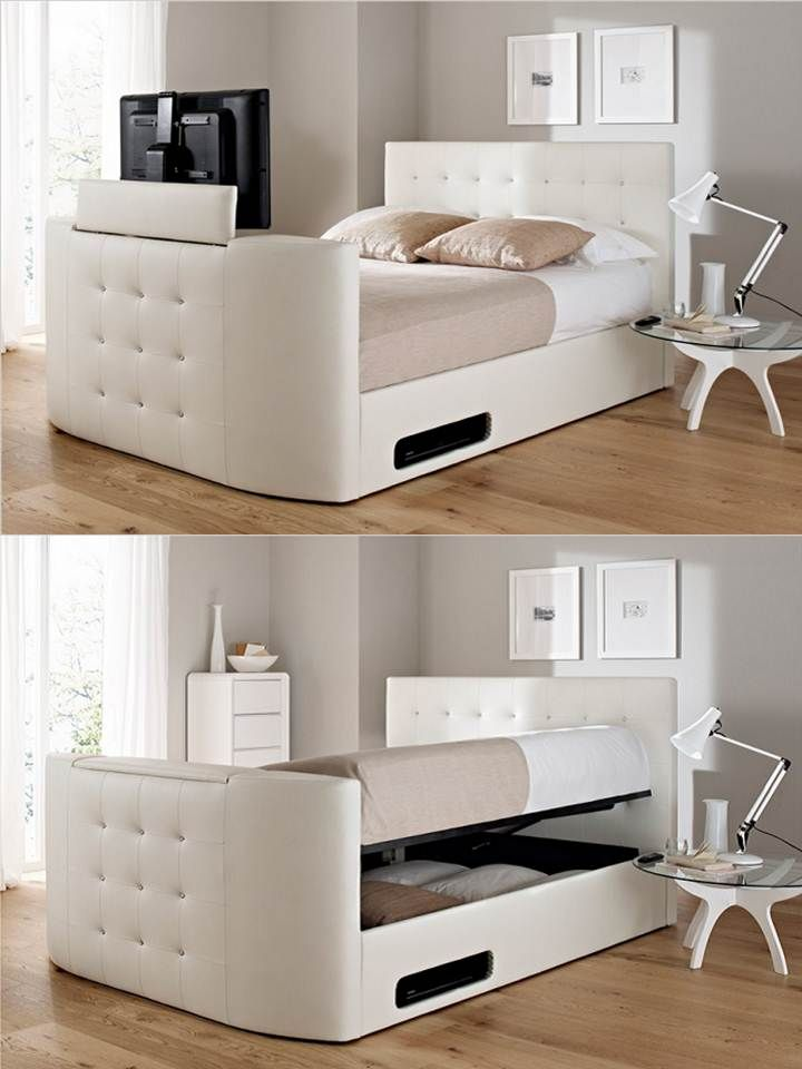 The Atlantis Leather Ottoman TV Bed (white) Is A Stylish