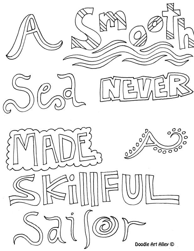 A Smooth Sea Never Made A Skillful Sailor Quote Coloring Pages