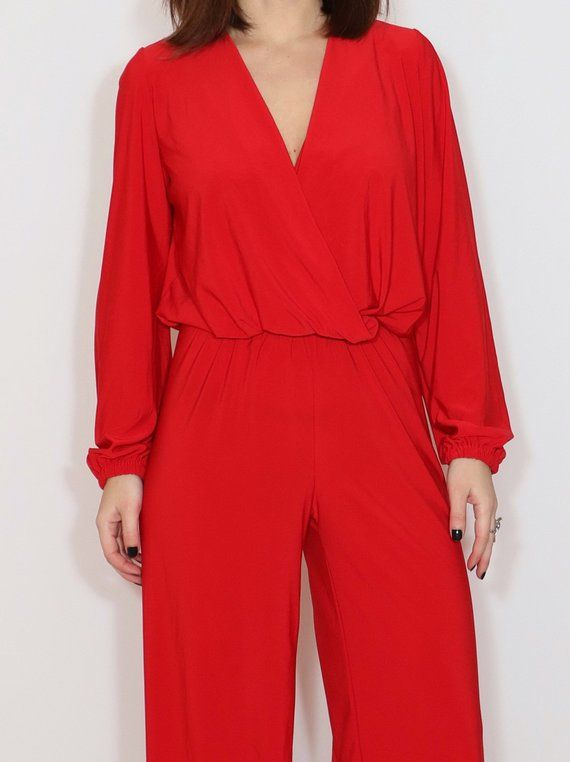 267985b1ca Red wide leg jumpsuit for women   Red long sleeve jumpsuit