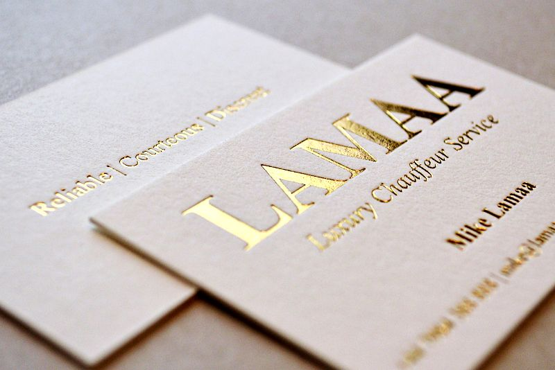 600gsm Letterpress Business Cards With Vintage Printing And Hot Foil Stamping These Are Usually Considered Superior As They
