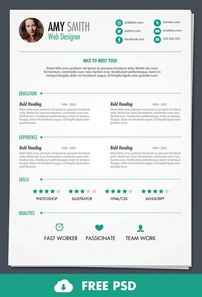 free psd  print ready resume template - design bump